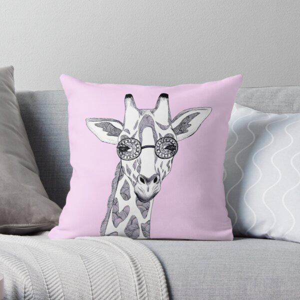 Giraffe with glasses Throw Pillow
