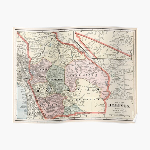 Vintage Map of Bolivia (1901) Poster