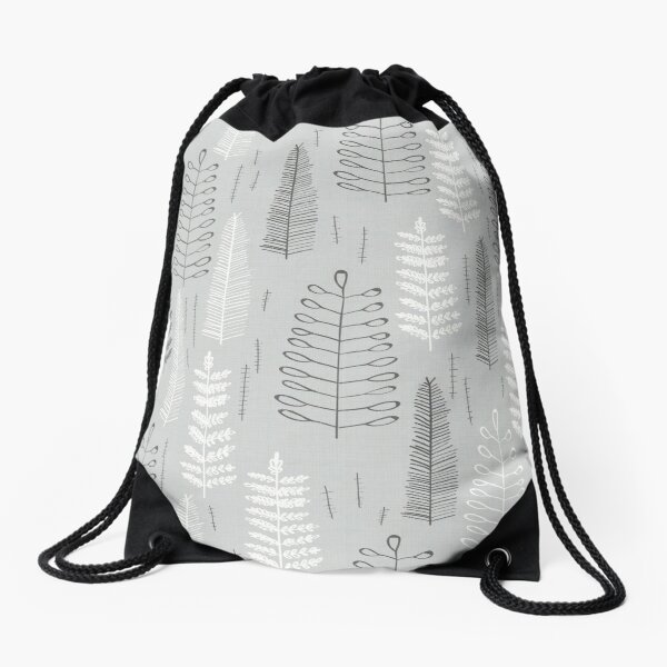 Ferns on a Rainy Day Drawstring Bag
