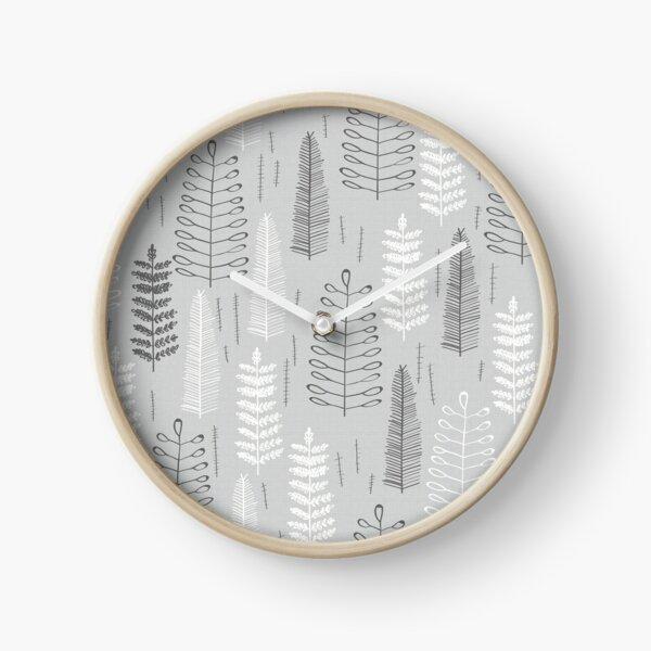 Ferns on a Rainy Day Clock
