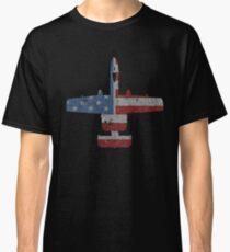 A-10 Warthog Airplane American Flag Design Classic T-Shirt
