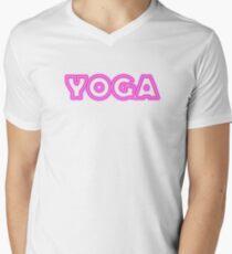 pink neon YOGA Men's V-Neck T-Shirt