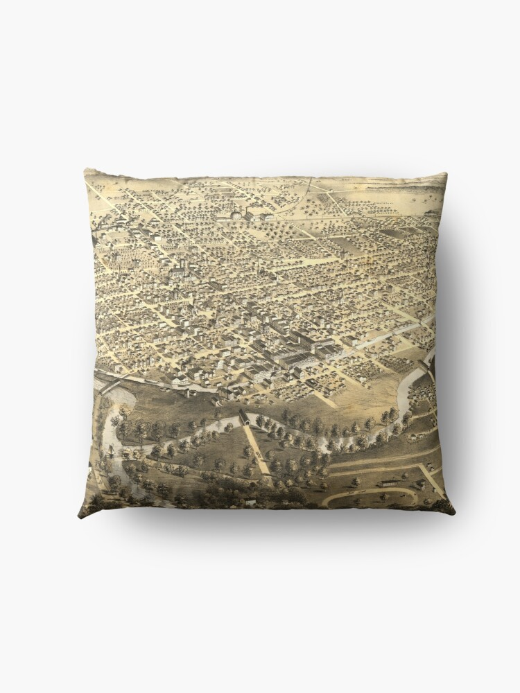 Alternate view of Vintage Pictorial Map of Fort Wayne Indiana (1868) Floor Pillow