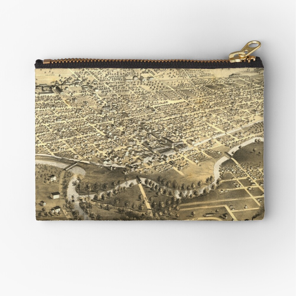 Vintage Pictorial Map of Fort Wayne Indiana (1868) Zipper Pouch