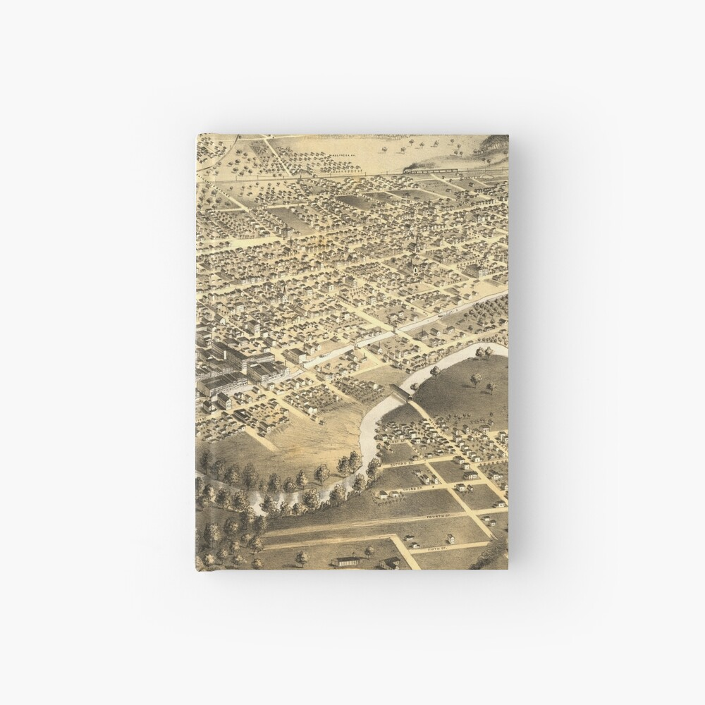 Vintage Pictorial Map of Fort Wayne Indiana (1868) Hardcover Journal