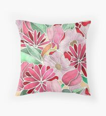 Blossoming - a hand drawn floral pattern Throw Pillow