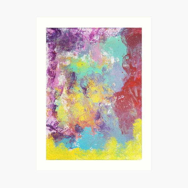 Rainbow Modern Abstract Spring Colors Painting Art Print