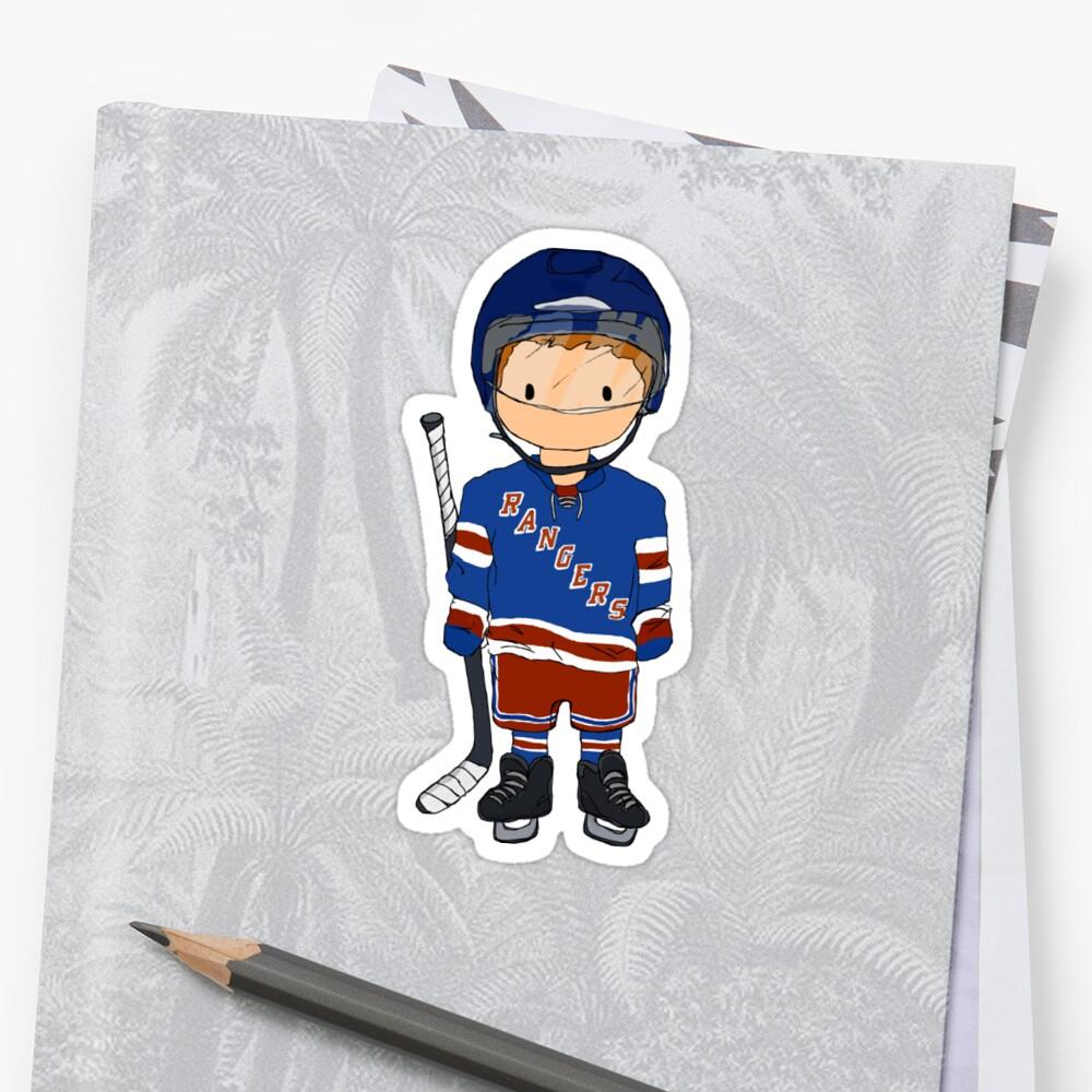 mini rangers jugador de hockey (camiseta local) Pegatina