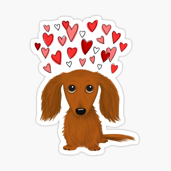 Cute Longhaired Red Dachshund Cartoon Dog with Hearts Sticker