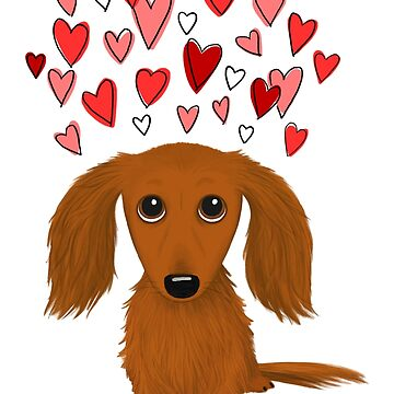 Cute Long Haired Red Dachshund with Hearts by ShortCoffee