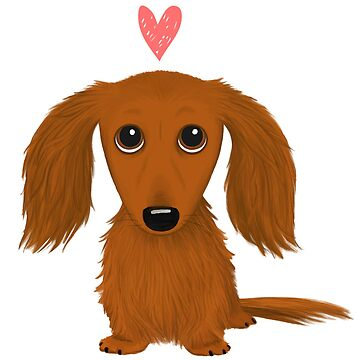 Cute Long Haired Dachshund with Heart by ShortCoffee
