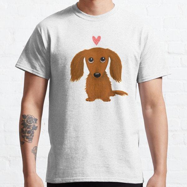 Cute Longhaired Dachshund Cartoon Dog with Heart Classic T-Shirt
