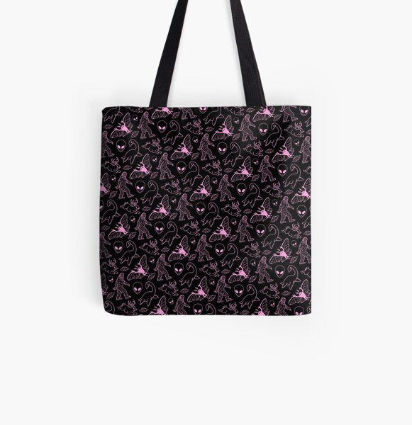 Cryptid Pattern (Pink Lines)  All Over Print Tote Bag