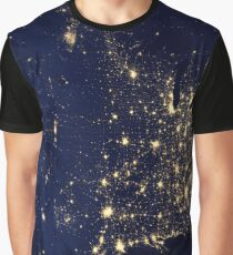USA Night Lights  Graphic T-Shirt