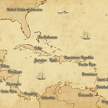 Vintage Style Map of the Caribbean/Central America by ramiro