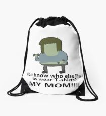 You know who else likes to wear T-shirts? - Muscle Man   Regular Show Drawstring Bag