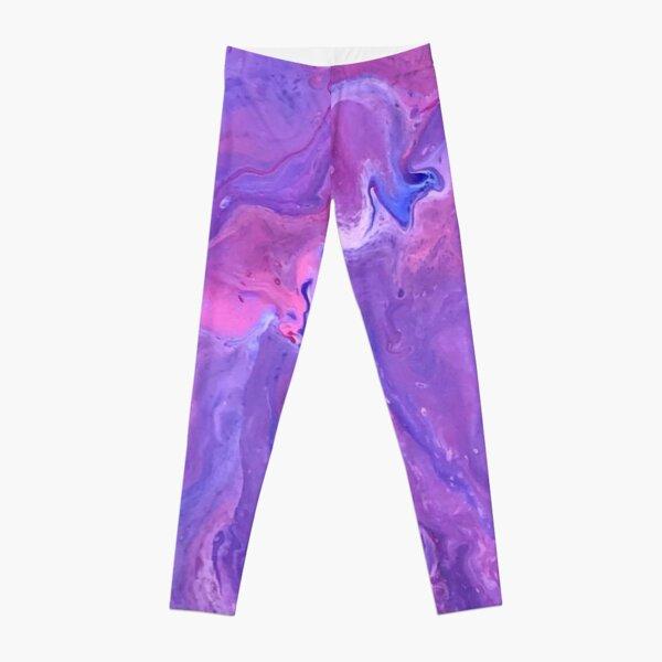 Purple and Pink Paint Pour Leggings