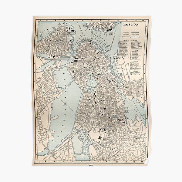 Vintage Map of Boston MA (1893) Poster