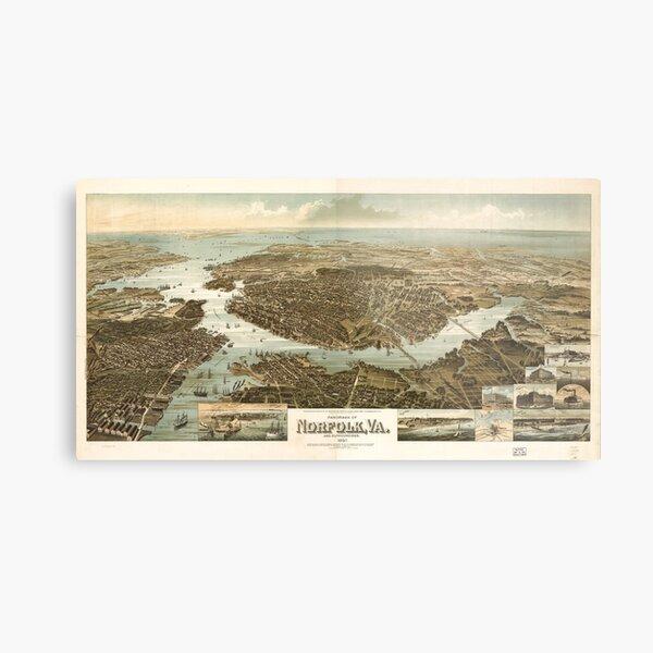 Vintage Pictorial Map of Norfolk Virginia (1892) Metal Print
