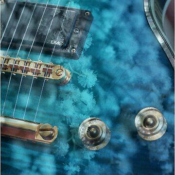 Guitar In Blue With Australian Wattle Flowers by bubbleblue