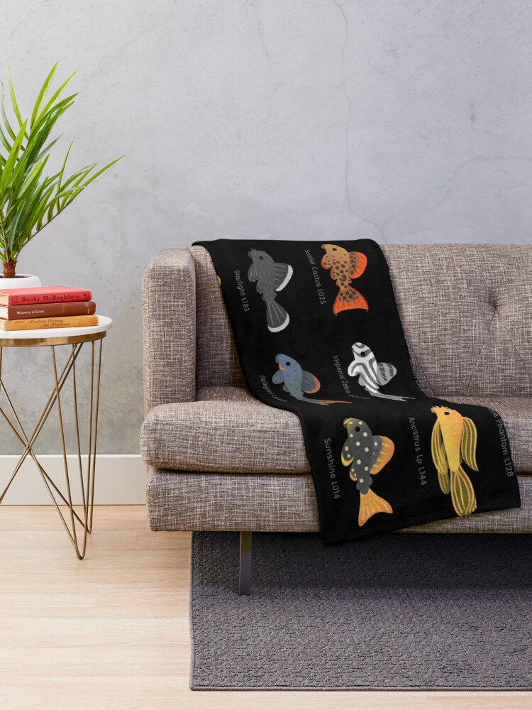 Alternate view of Pleco! - black Throw Blanket