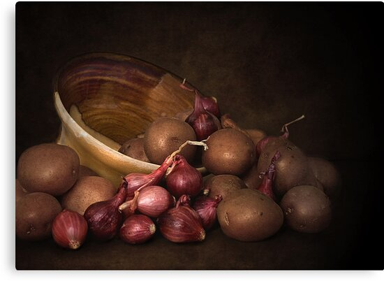 Pottery, Potatoes And Pearl Onions by Holly Cawfield