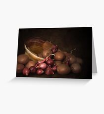 Pottery, Potatoes And Pearl Onions Greeting Card