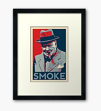 Smoke - Churchill with cigar obama style poster graphic Framed Print