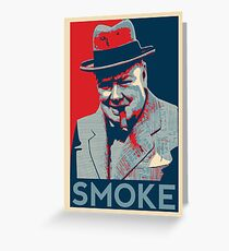 Smoke - Churchill with cigar obama style poster graphic Greeting Card