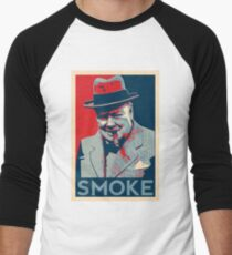 Smoke - Churchill with cigar obama style poster graphic Men's Baseball ¾ T-Shirt