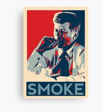 Smoke - Kennedy with cigar obama style poster graphic Canvas Print
