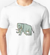 African Elephant Walking Mono Line Art Unisex T-Shirt