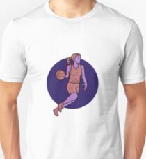Woman Basketball Player Dribbling Mono Line Art Unisex T-Shirt