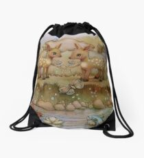 down by the riverside Drawstring Bag