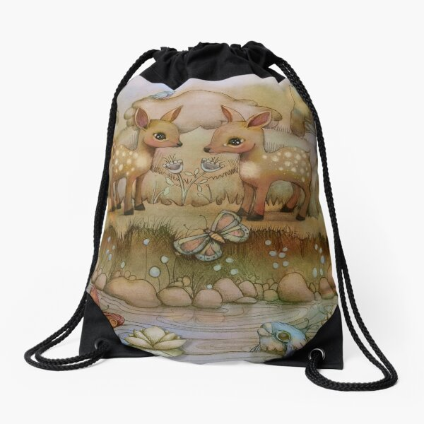 down by the riverside Drawstring Bag