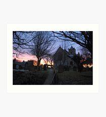 Easington Church in the Sunset Art Print