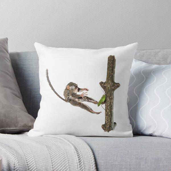 Tarsier Hunting Throw Pillow