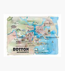 Boston Massachusetts Retro Vintage Favorite Map Photographic Print