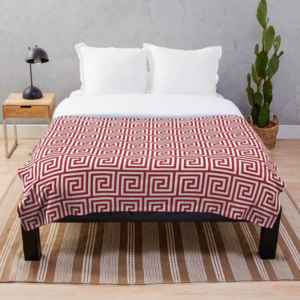 Geometric Pattern: Key Spiral: Red Throw Blanket