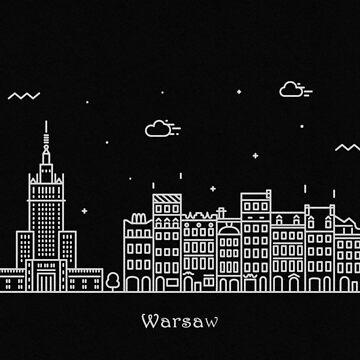 Warsaw Skyline Minimal Line Art Poster by geekmywall