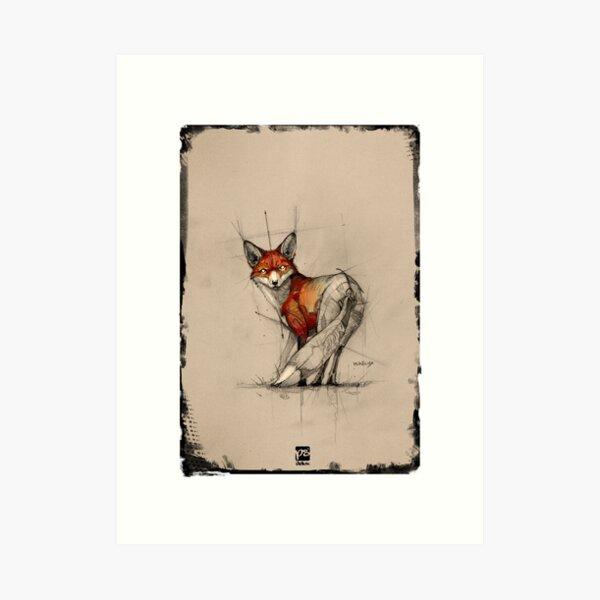 fox sketch frame psdelux Art Print