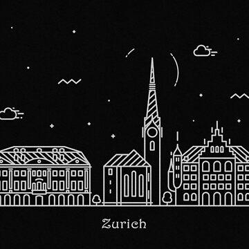 Zurich Skyline Minimal Line Art Poster by geekmywall