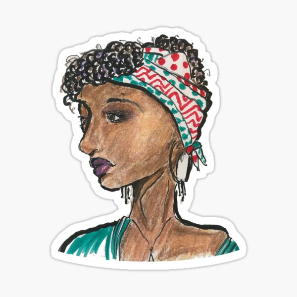 Hair Wrapped Lady Sticker