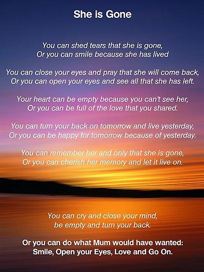 She is Gone - Funeral Poem for Mum by David Alexander Elder