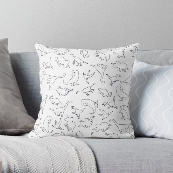 Dinosaur Pattern Outline (Dark Outline) Throw Pillow