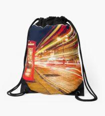 London red telephone box Drawstring Bag