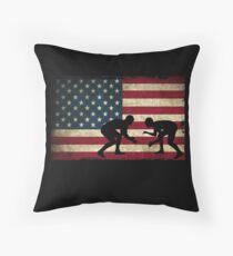 American Flag Wrestling Cool USA Wrestle Gift Throw Pillow