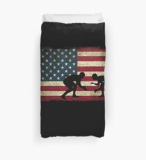 American Flag Wrestling Cool USA Wrestle Gift Duvet Cover