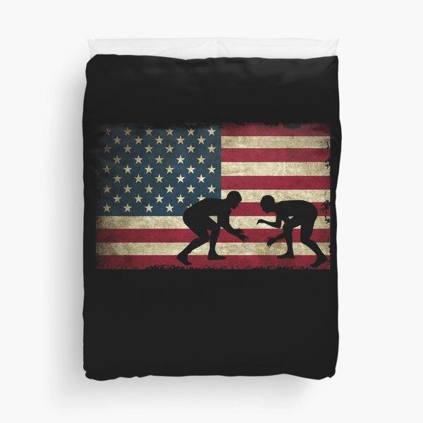 American Flag Wrestling Cool USA Wrestle Gift Duvet Cover