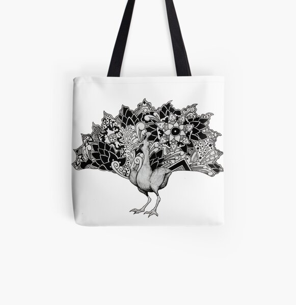 Peacock Patterns All Over Print Tote Bag